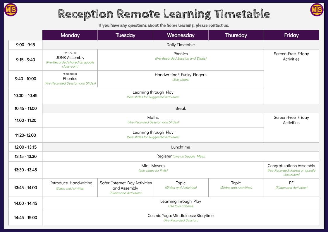 MIS Remote Learning Timetable (1)