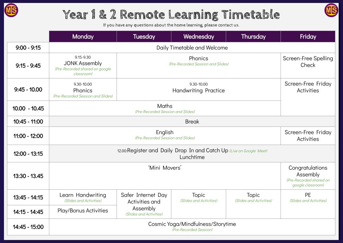 MIS Remote Learning Timetable